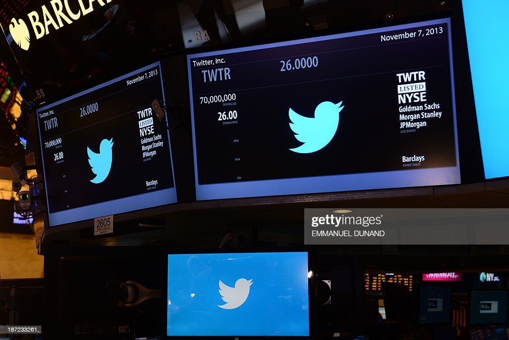 The logo of Twitter and the symbol on which Twitter's stock will be traded (TWTR) is viewed on the floor of the New York Stock Exchange (NYSE) on November 7, 2013 in New York. Twitter goes public on the NYSE today,and is expected to open at $26 per share, making the company worth an estimated 18 billion USD.