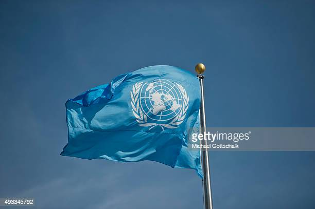 The logo of United Nations at a flag at UNheadquarters on September 25 2015 in New York United States