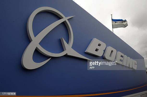 The logo of US aircraft manufacturer Boeing taken at Le Bourget airport near Paris on June 23 2013 during the 50th International Paris Air show AFP...
