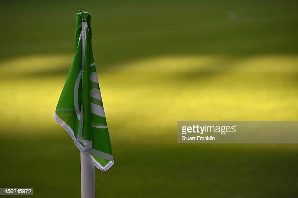 The logo of Wolfsburg is on a corner flag during the Bundesliga match between VfL Wolfsburg and Werder Bremen at Volkswagen Arena on September 27...