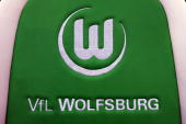 The logo of Wolfsburg is seen on the coaches bench before the Bundesliga match between VfL Wolfsburg and VfB Stuttgart at Volkswagen Arena on August...