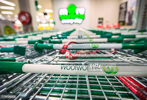 The logo of Woolworths Ltd's Woolworths chain of supermarkets is displayed on shopping trolleys in Sydney Australia on Tuesday Aug 27 2013 Woolworths...
