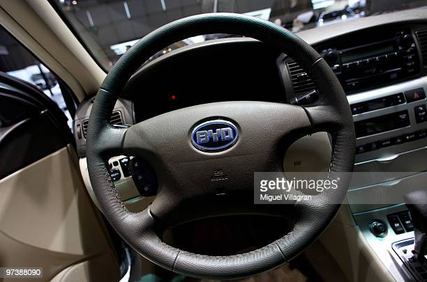 The logo on a steering wheel of Chinese car manufacturer BYD is pictured during the second press day at the 80th Geneva International Motor Show on...