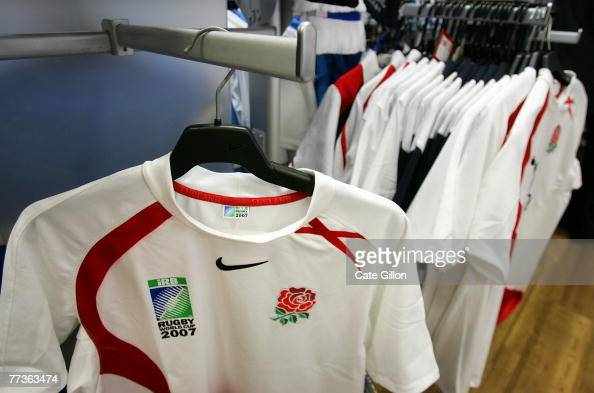 The logo on the last England Rugby World Cup 2007 shirt which is now not for sale in a Rugby Scene store on October 17 2007 in London England Sports...