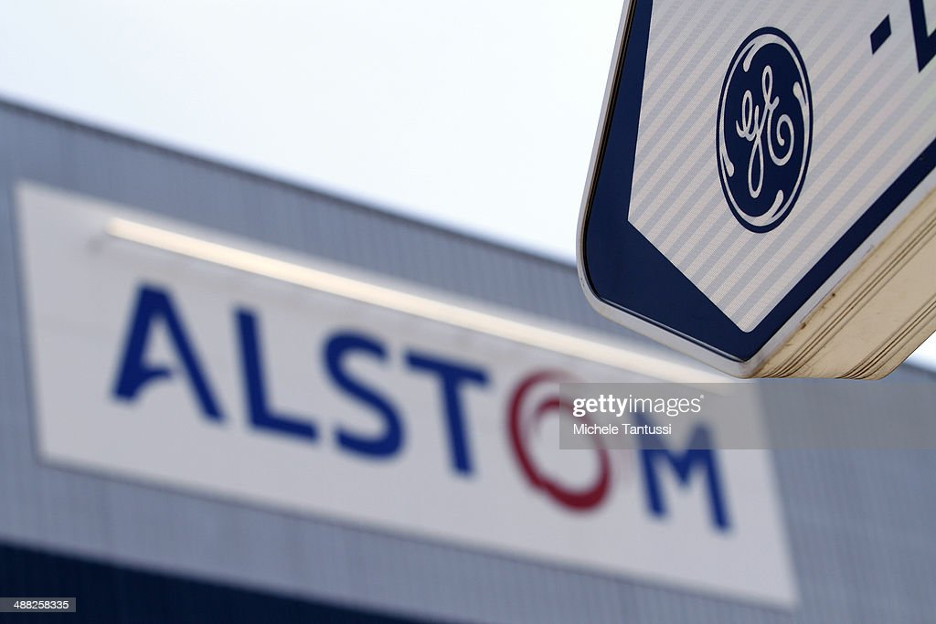 The logos of Alstom S.A. and General Electric stand near each other on May 5, 2014 in Belfort, France. General Electric is seeking to take over Alstom, one of its main competitors, and so far a counter move by Siemens to buy Alstom instead seems more and more unlikely.