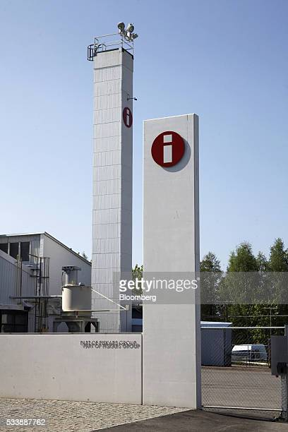 The logos of Iittala sit on display at the entrance to the Iittala Oyj glass factory operated by Fiskars Oyj in Hameenlinna Finland on Friday May 20...