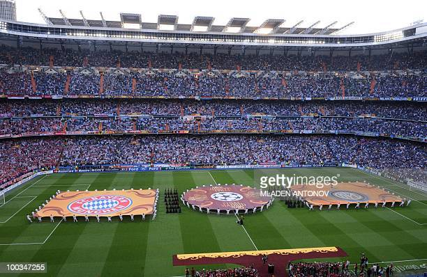 The logos of Inter Milan and Bayern Munich are displayed before the UEFA Champions League final football match Inter Milan against Bayern Munich at...