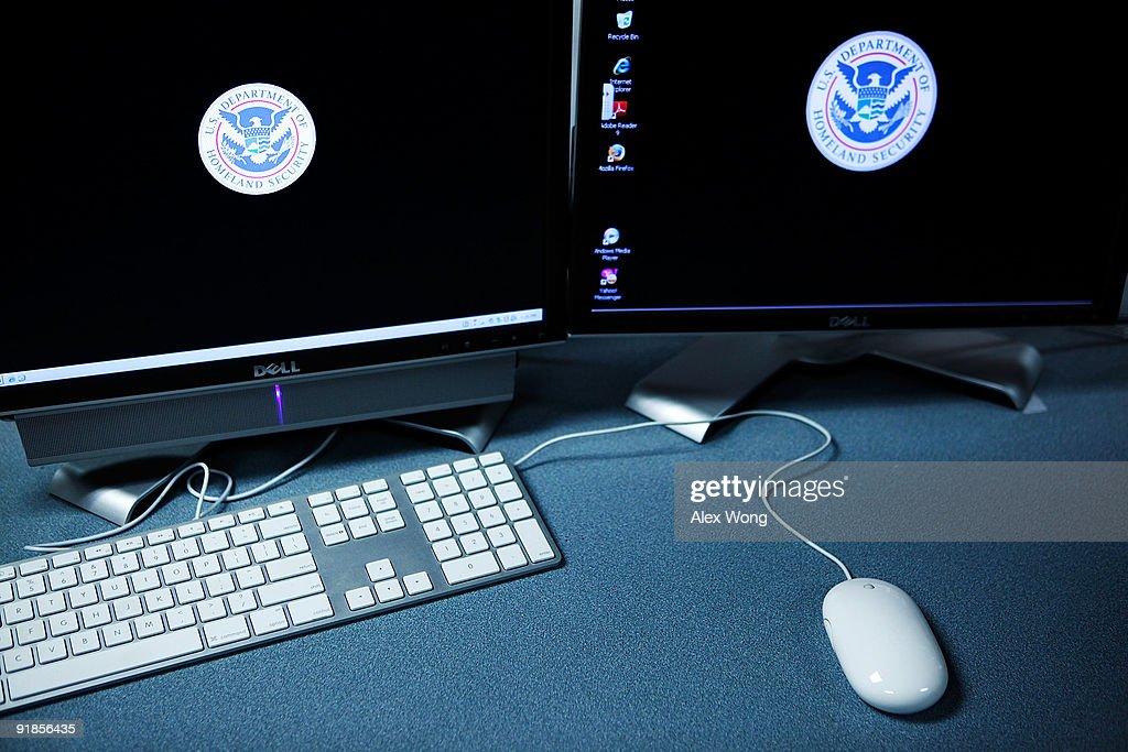 The logos of the U.S. Department of Homeland Security are seen on computer terminals in a training room of the Cyber Crimes Center of the U.S. Immigration and Customs Enforcement October 13, 2009 in Fairfax, Virginia. The Cyber Crime Center, which is formed with the Child Exploitation Section, the Computer Forensics Section and the Cyber Crimes Section, focus on investigating criminal activities occur on or facilitated by the Internet. It also offers training to local, federal, and international law enforcement agencies.