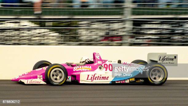 The Lola Cosworth of Lyn St James drives on the track during the Indy 200 Indy Racing League IRL race at Walt Disney World Speedway Speedway on...