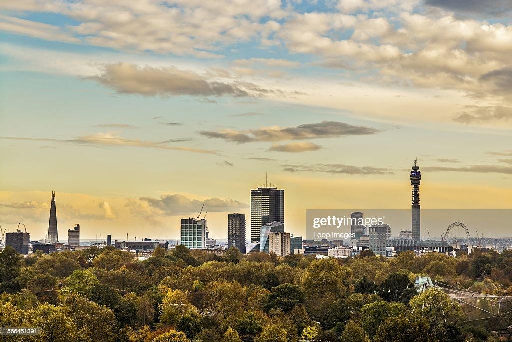 The London Autumn skyline from Primrose Hill