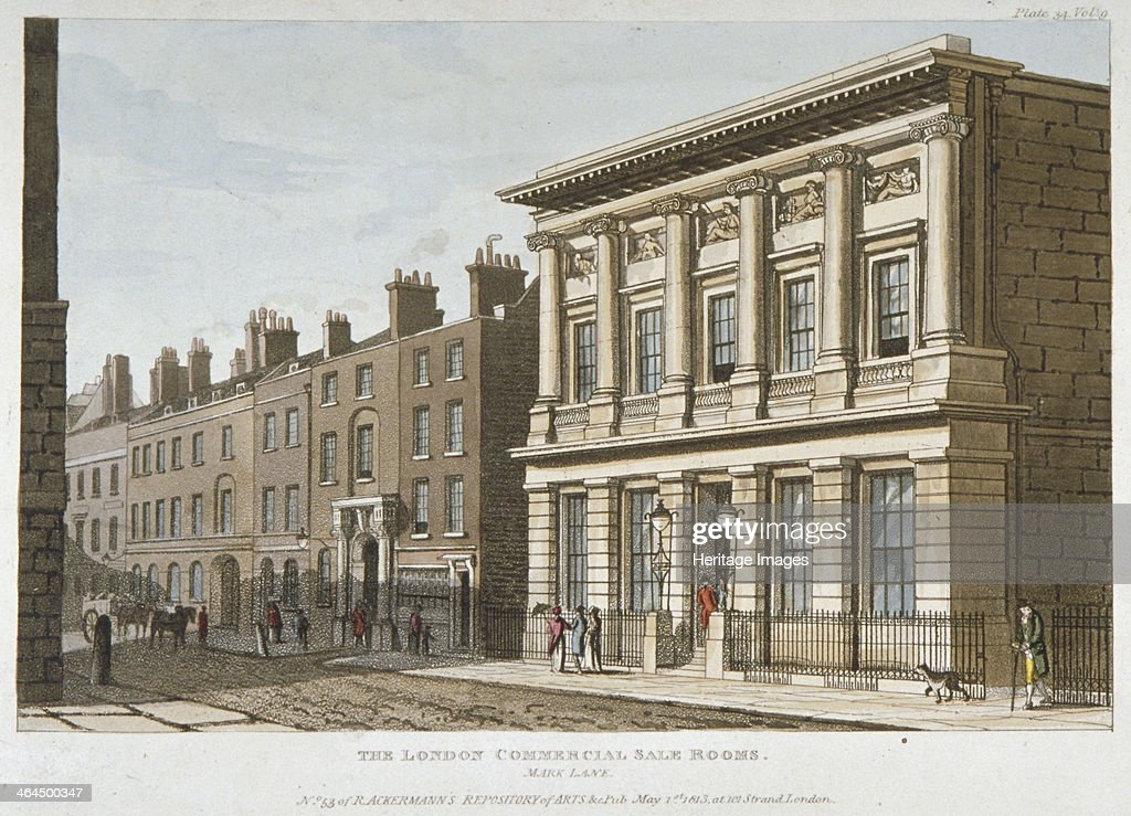 The London Commercial Sale Rooms and Mincing Lane City of London 1813