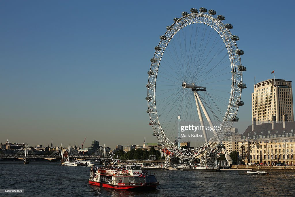 The London Eye is seen ahead of the London 2012 Olympic Games on July 24 2012 in London England