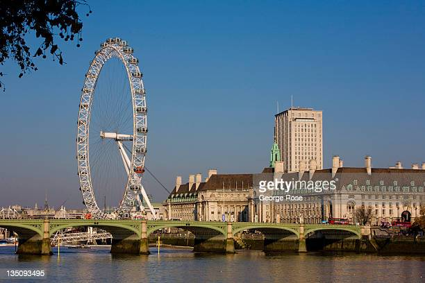 The London Eye Westminster Bridge and County Hall are viewed across the Thames River from Parliment building on November 19 2011 in London England An...