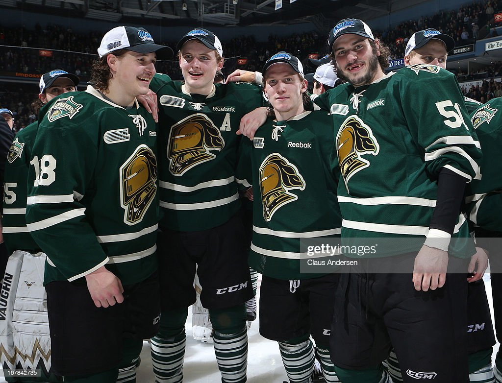 The London Knights celebrate their win in Game Five of the Western Conference Final against the Plymouth Whalers on April 26, 2013 at the Budweiser Gardens in London, Ontario, Canada. The Knights defeated the Whalers 5-4 in overtime to win the series 4-1.