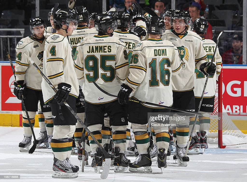 The London Knights enjoy another victory in an OHL game against the Mississauga Steelheads on December 9, 2012 at the Budweiser Gardens in London, Ontario, Canada. The Knights defeated the Steelheads 5-2 and tied their franchise record of 18 straight wins.