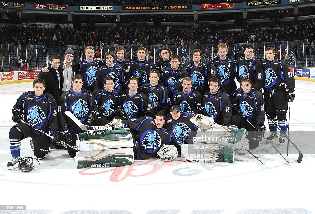 The London Knights pose for a team photo in their one off unis sufforting Diabetes awareness after an OHL game against the Brampton Battalion on February 1, 2013 at the Budweiser Gardens in London, Canada. The Knights defeated the Battalion 1-0 in a shoot-out.
