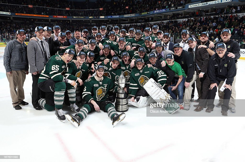 The London Knights pose with the Western Conference Championship Trophy after defeating the Plymouth Whalers in game five of the Western Conference Final on April 26, 2013 at the Budweiser Gardens in London, Ontario, Canada. The Knights defeated the Whalers 5-4 in overtime to win the series 4 games to 1.