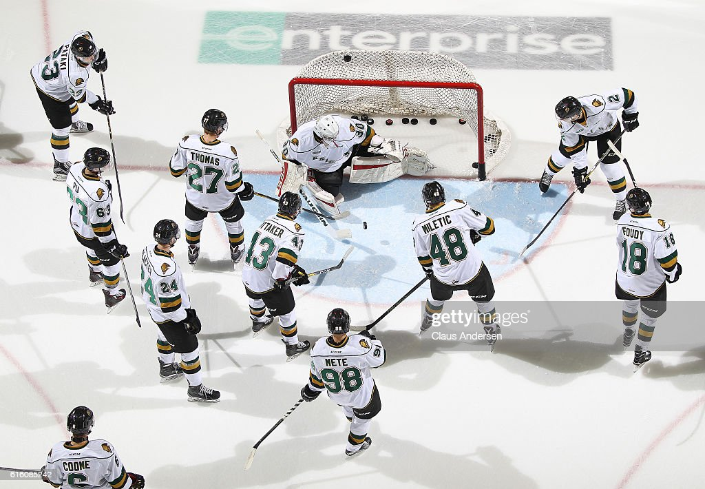 The London Knights warm up prior to play against the Saginaw Spirit in an OHL game at Budweiser Gardens on October 21, 2016 in London, Ontario, Canada.