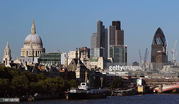 The London skyline showing St Paul's Cathedral and the city on July 23 2012 in London England
