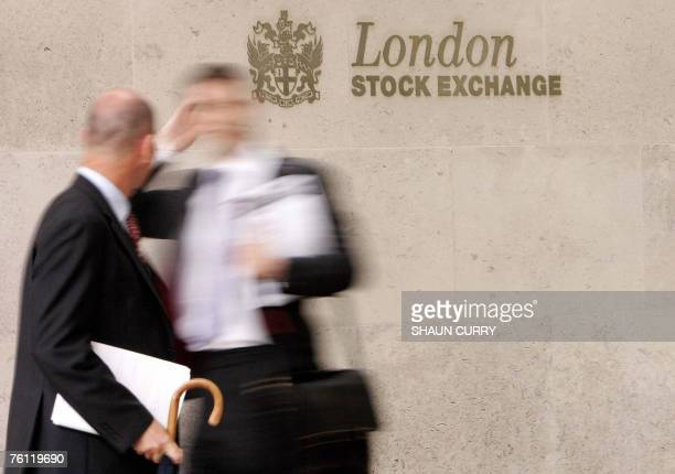 The London Stock Exchange is pictured in central London 25 June 2007 European stock markets closed sharply lower on Thursday 16 August 2007 with the...
