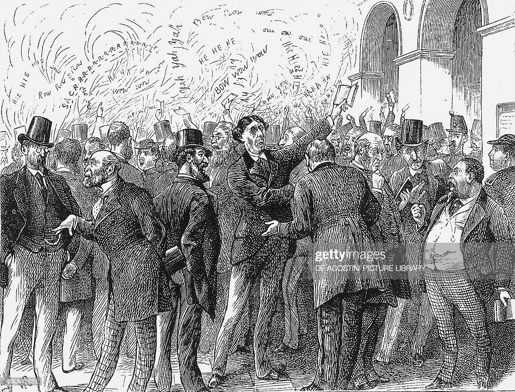 The London Stock Exchange satirical drawing United Kingdom 19th century
