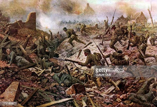 The London Territorials at Pozières during the Battle of the Somme 1916 In The Great War From a painting by WB Wollen Appeared in The Sphere magazine...