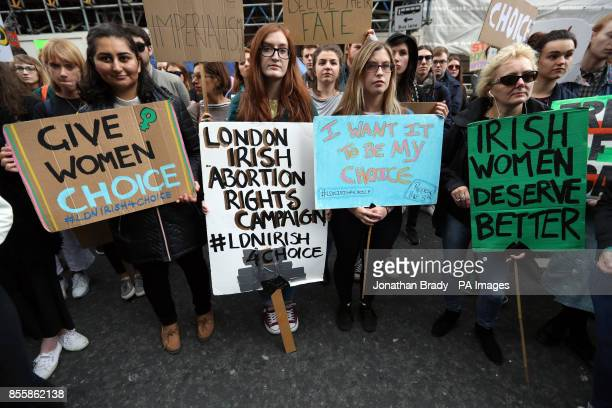The LondonIrish Abortion Rights campaigners outside the embassy of Ireland on Chapel Street Belgravia London as they host the 'London March of...