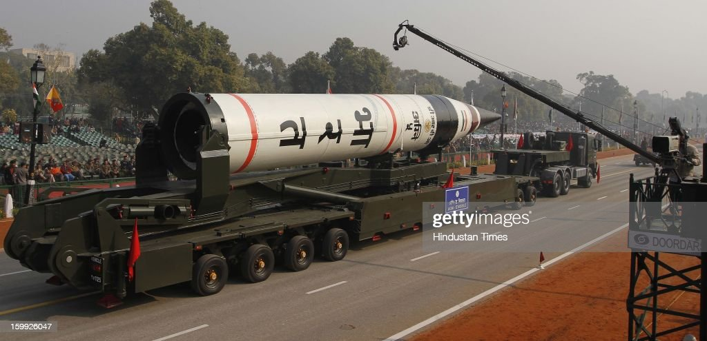 The long range ballistic Agni-V missile is displayed during the full dress rehearsal for the annual Republic Day parade 2013 at Rajpath on January 23, 2013 in New Delhi, India.