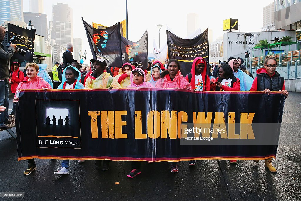 The Long Walk begins before the round 10 AFL match between the Essendon Bombers and the Richmond Tigers at Melbourne Cricket Ground on May 28, 2016 in Melbourne, Australia. The Long Walk raises awareness for Indigenous Rights affairs.