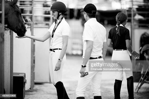 The Longines Paris Eiffel Jumping is for Madame Figaro on July 4 2015 in Paris France Actress Marina Hands participates in the Longines Paris Eiffel...