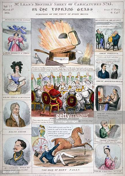 The Looking Glass 1831 12 vignettes on 1 sheet featuring a City feast Alderman John Key the Duke of Wellington articles to be taxed bonnets bustles...