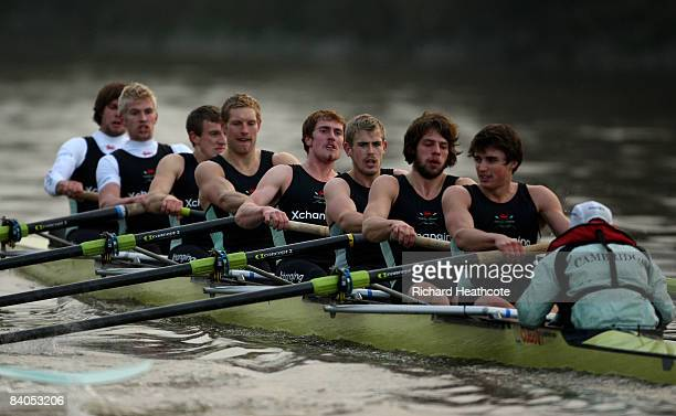 The Looks crew pull ahead during the Cambridge University Boat Club trial eights race on the River Thames on December 16 2008 in London England