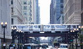 The Loop and El Train in Chicago Downtown