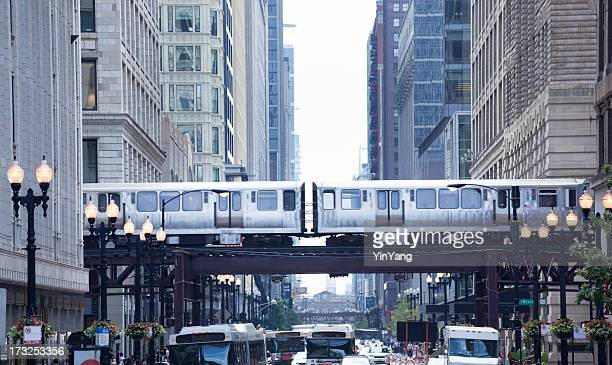The Loop und El Zug in der Innenstadt von Chicago