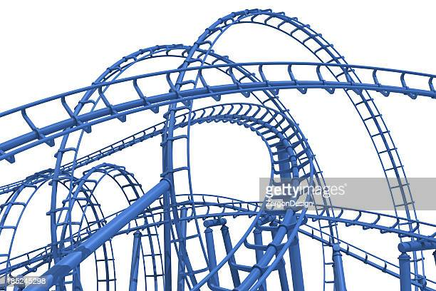 The loops of a blue rollercoaster track
