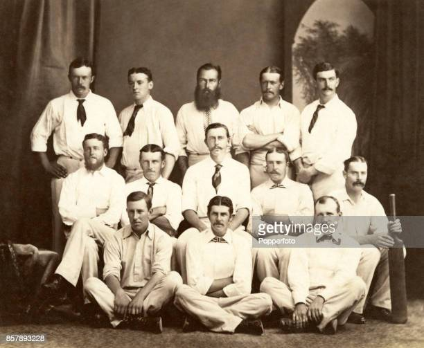 The Lord Harris XI cricket team which toured Australia New Zealand and the USA circa 1878 Left to right back row Frank Penn Alexander Webbe Charles...