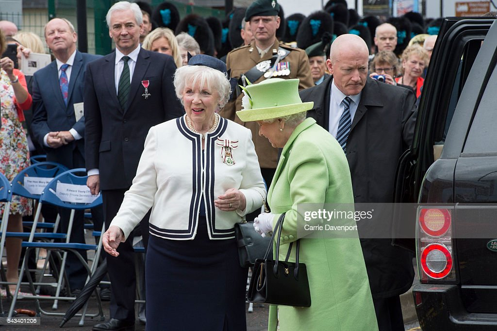 the Lord Lieutenant greets Queen <a gi-track='captionPersonalityLinkClicked' href=/galleries/search?phrase=Elizabeth+II&family=editorial&specificpeople=67226 ng-click='$event.stopPropagation()'>Elizabeth II</a> & Prince Philip, Duke Of Edinburgh at the unveiling of the Robert Quigg VC memorial statue in Bushmills village on June 28, 2016 in Bushmills, Northern Ireland.