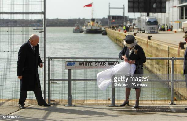 The Lord Lieutenant of Hampshire Mary Fagan unveils a new street sign naming White Star Way in front of the dock in Southampton from where the...