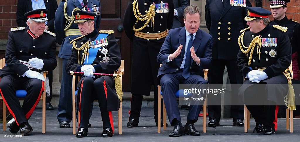 The Lord Lieutenant of Lincolnshire Toby Dennis, Prince Edward, Duke of Kent, Prime Minister David Cameron and General Sir Chris Deverell talk as they wait to watch the main military parade during the Armed Forces Day National Event on June 25, 2016 in Cleethorpes, England. The visit by the Prime Minister came the day after the country voted to leave the European Union. Armed Forces Day is an annual event that gives an opportunity for the country to show its support for the men and women in the British Armed Forces.