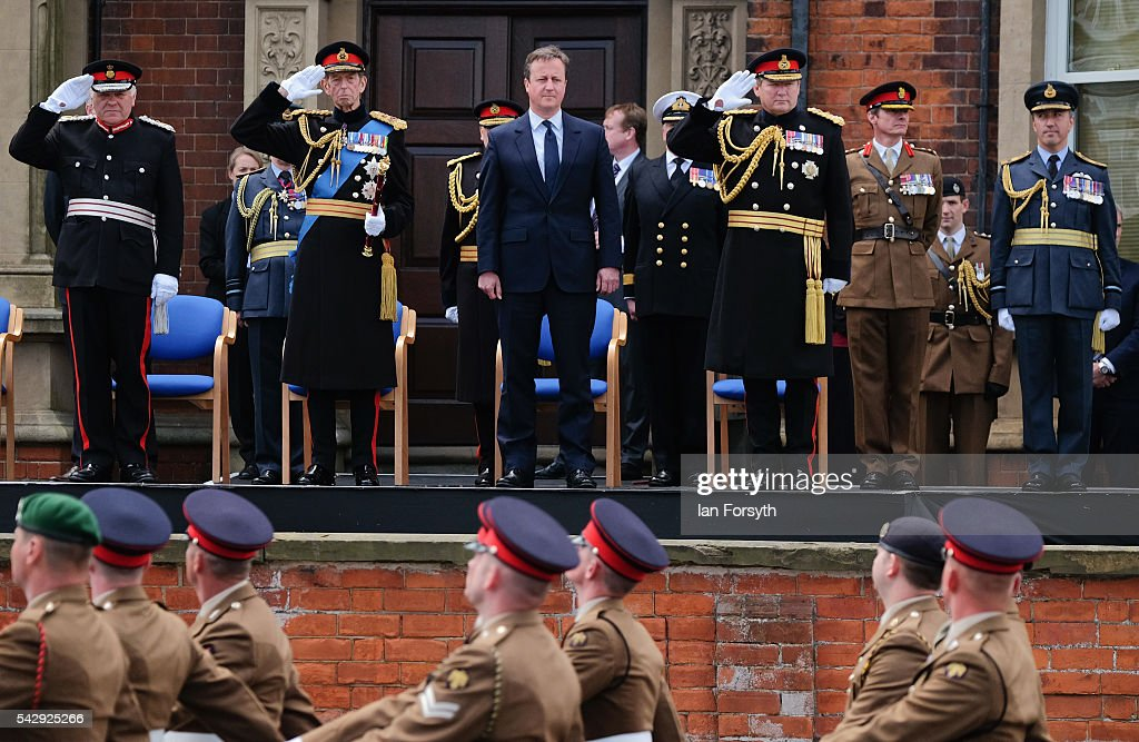 The Lord Lieutenant of Lincolnshire Toby Dennis, Prince Edward, Duke of Kent, Prime Minister David Cameron and General Sir Chris Deverell take the salute as they watch the main military parade during the Armed Forces Day National Event on June 25, 2016 in Cleethorpes, England. The visit by the Prime Minister came the day after the country voted to leave the European Union. Armed Forces Day is an annual event that gives an opportunity for the country to show its support for the men and women in the British Armed Forces.