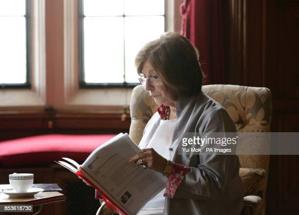 The Lord Speaker Baroness D'Souza catches up with some reading before her meeting with Chinese Premier Li Keqiang in the River Room during his visit...