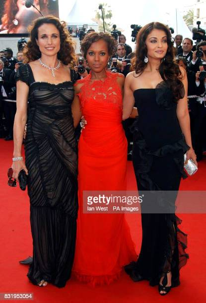 The L'Oreal ladies Actresses Andie MacDowell Kerry Washington and Aishwarya Rai arrive for the premiere of The Da Vinci Code at the 59th Cannes Film...