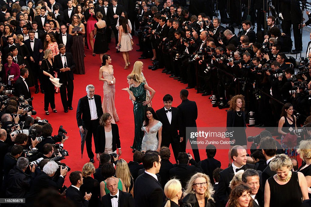 The L'Oreal Paris ambassadors attend the 'Cosmopolis' premiere during the 65th Annual Cannes Film Festival at Palais des Festivals on May 25 2012 in...