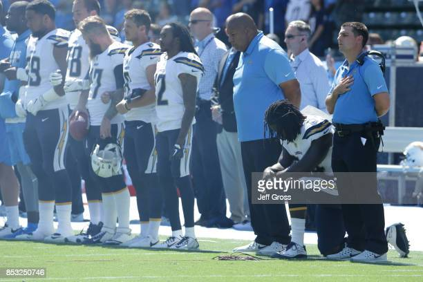 The Los Angeles Chargers are seen during national anthem before the game against the Kansas City Chiefs at the StubHub Center on September 24 2017 in...