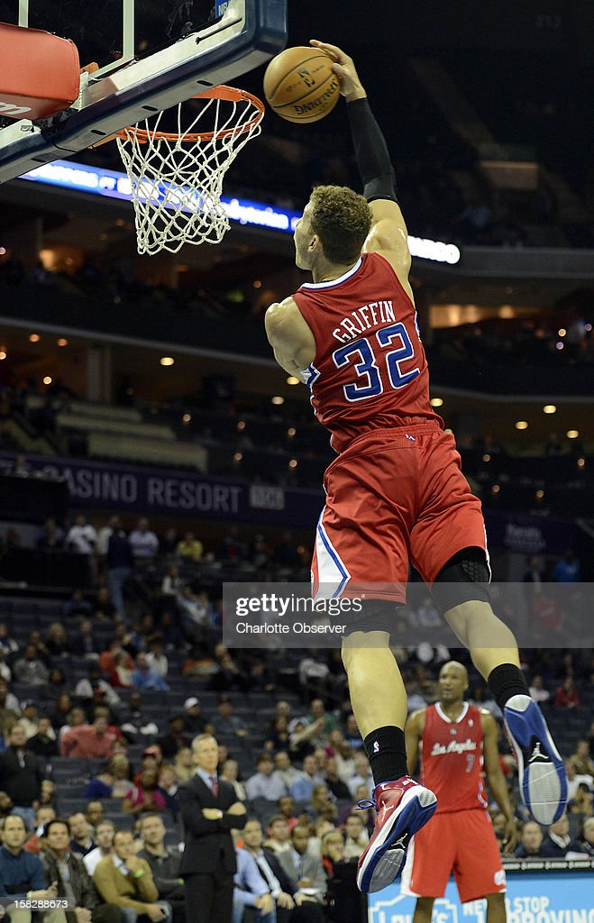 The Los Angeles Clippers' Blake Griffin (32) heads to the rim against the Charlotte Bobcats in the second half at Time Warner Cable Arena in Charlotte, North Carolina, on Wednesday, December 12, 2012. The Clippers won, 100-94.