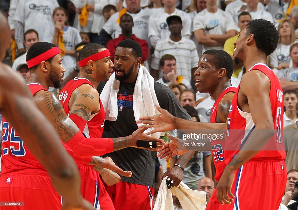 The Los Angeles Clippers celebrate after defeating the Memphis Grizzlies in Game Seven of the Western Conference Quarterfinals during the 2012 NBA Playoffs on May 13, 2012 at FedExForum in Memphis, Tennessee.
