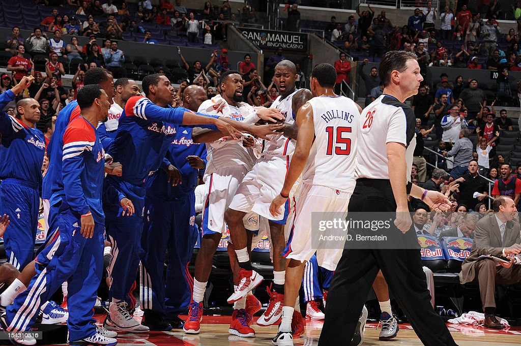 The Los Angeles Clippers celebrate while playing against the Utah Jazz during a pre-season game at Staples Center on October 17, 2012 in Los Angeles, California.