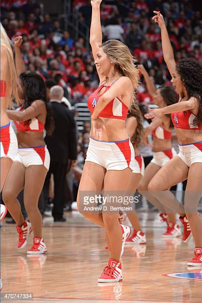 The Los Angeles Clippers dance team performs during a game against the San Antonio Spurs in Game Two of the Western Conference Quarterfinals during...