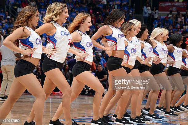 The Los Angeles Clippers dance team performs during a game against the Houston Rockets in Game Four of the Western Conference Semifinals during the...