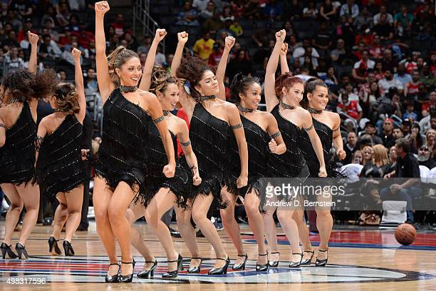 The Los Angeles Clippers dance team performs during the game against the Toronto Raptors on November 22 2015 at STAPLES Center in Los Angeles...